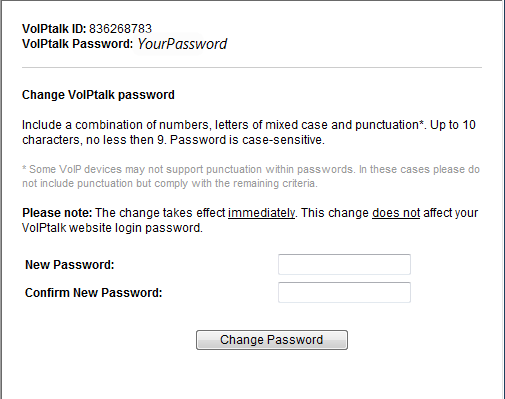 view your voiptalk id and password